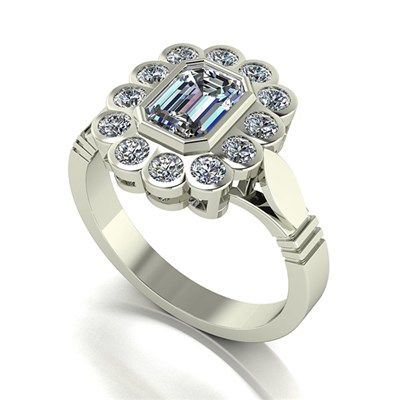Moissanite 9ct Gold 2.00ct eq Radiant Cluster Ring