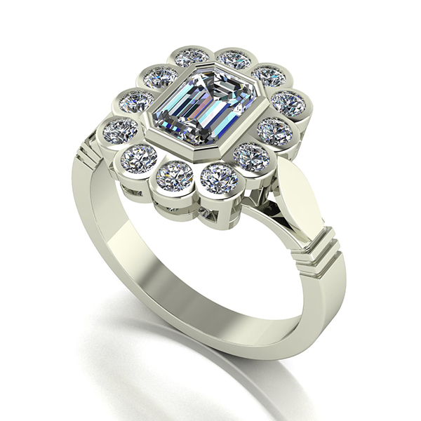 Moissanite 9ct Gold 2.00ct eq Radiant Cluster Ring White Gold