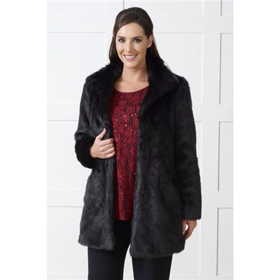 Lavitta Faux Fur Stand Collar 3/4 Length Coat 33in