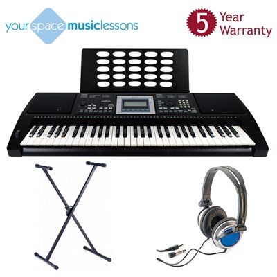 Axus Digital Touch Sensitive Keyboard with Headphones, Heavy Duty Stand, Online Music Lesson, and 5 Year Warranty