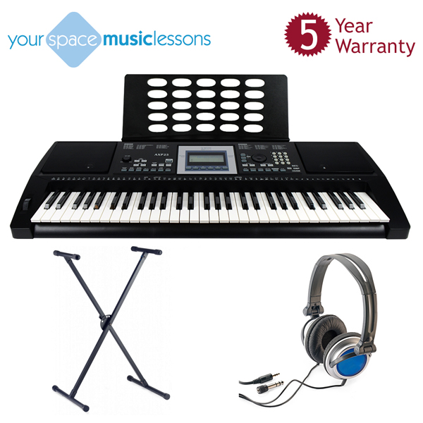 Axus Digital Touch Sensitive Keyboard with Headphones, Heavy Duty Stand, Online Music Lesson, and 5 Year Warranty No Colour