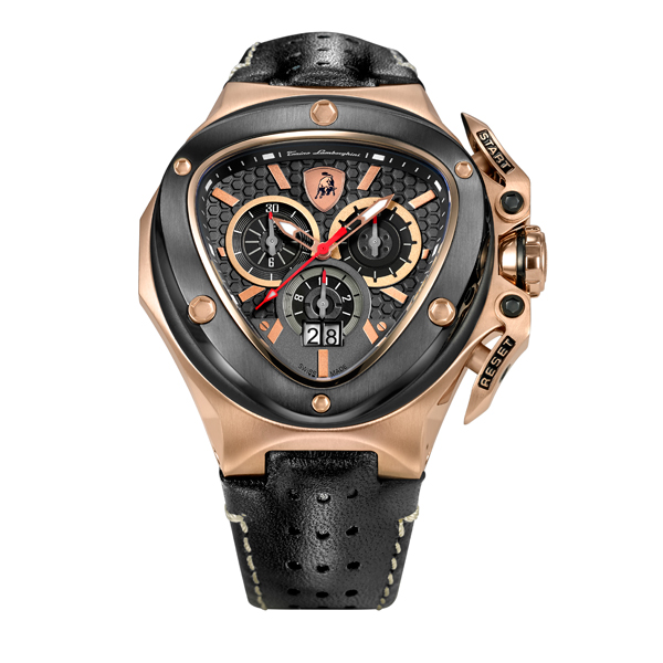 Tonino Lamborghini Gents Spyder 3100 Swiss Quartz Chronograph Watch with Leather Strap Black