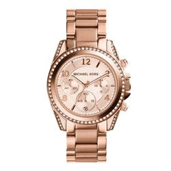 Michael Kors Ladies Blair Chronograph Watch with Crystal Set Bezel and Stainless Steel Bracelet Strap