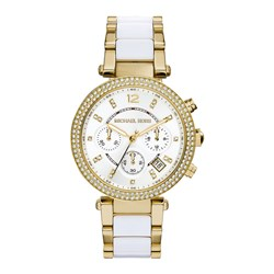 Michael Kors Ladies parker Chronograph Watch with Crystal Set Bezel and White and Gold Stainless Steel Bracelet Strap