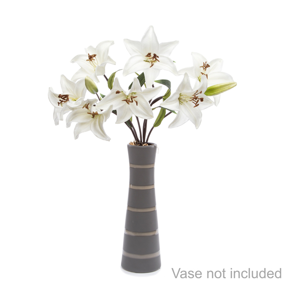 Casablanca Lily Bouquet with 7 LED Lights - Scented White