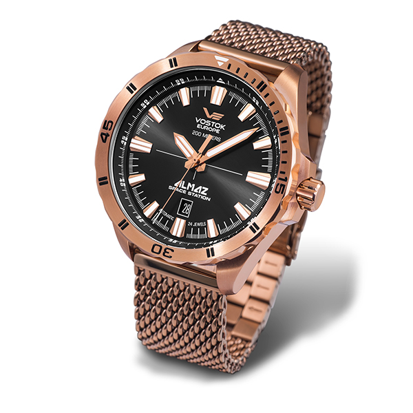 Vostok Europe Gent's Almaz Automatic Movement Watch with Milanese Bracelet Strap Rose Gold
