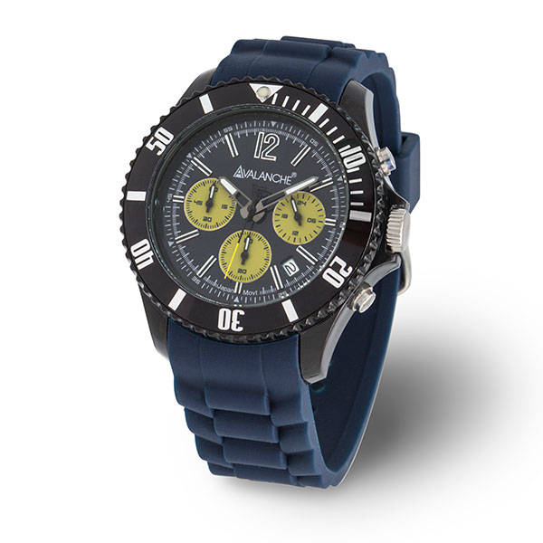 Avalanche Gents Quartz Chronograph Watch with Silicone Buckle Strap Blue