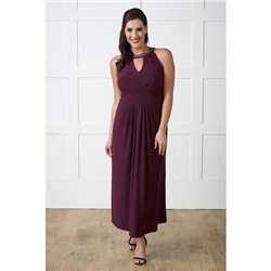 Lavitta Jersey Necklace Notch Maxi Dress