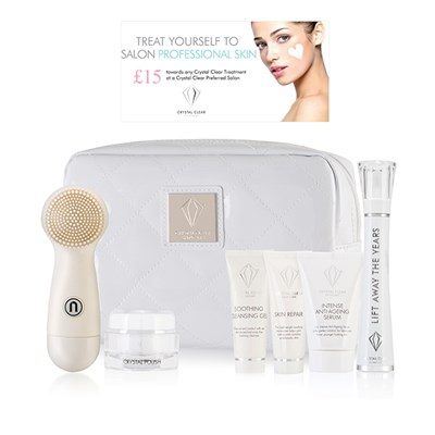 Crystal Clear Gift for Me, Gift for You Collection - Ionic Sonic Cleanser Kit in White Bag and Lift Away the Years Kit Plus Voucher