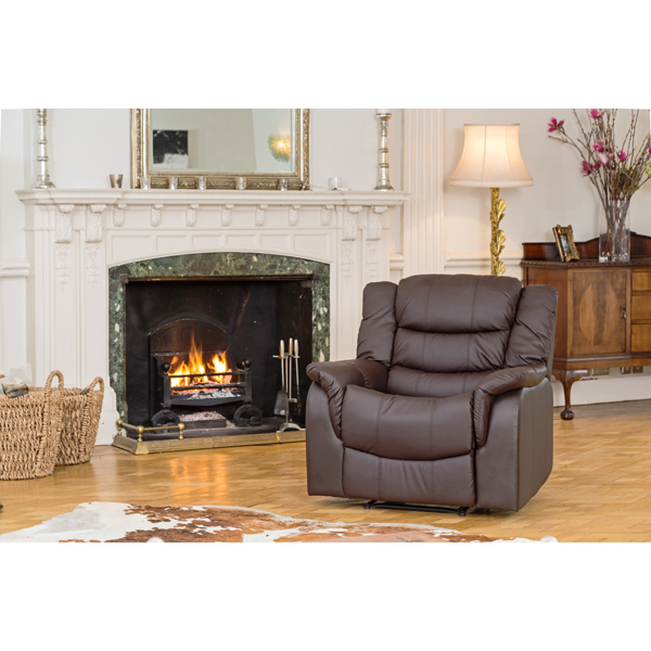 Verona Bonded Leather Rise and Recliner Chair with Heat and Massage Brown