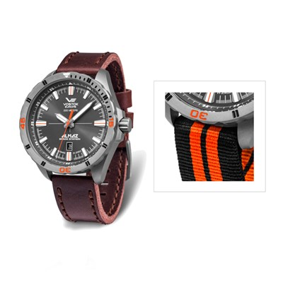 Vostok Europe Gents Almaz Titanium NH35 Automatic Watch and Interchangeable Leather and Nato Straps