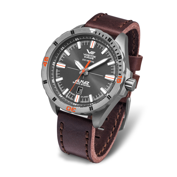 Image of Vostok Europe Gent's Almaz Titanium NH35 Automatic Watch and Genuine Leather Strap