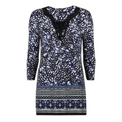 David Emanuel Animal Border Sequin Neck Tunic Top 30in