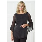 Lurex Mesh Frill Sleeve Top