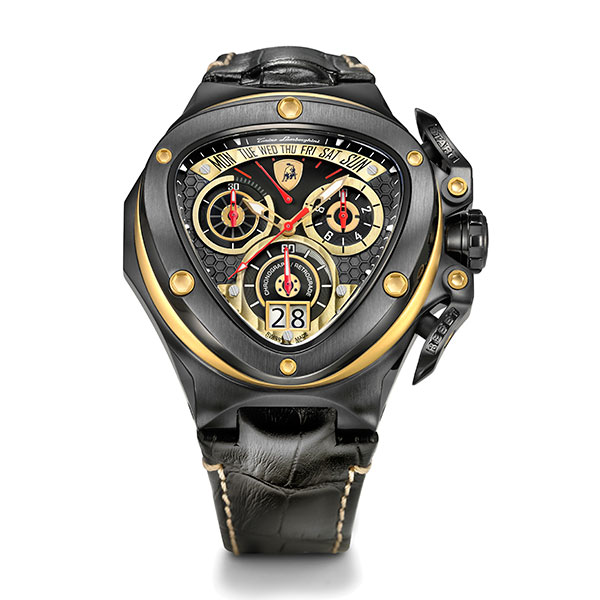 Tonino Lamborghini Spyder 3000 Gents Swiss Quartz Black IP Chronograph Watch with Genuine Leather Strap Gold