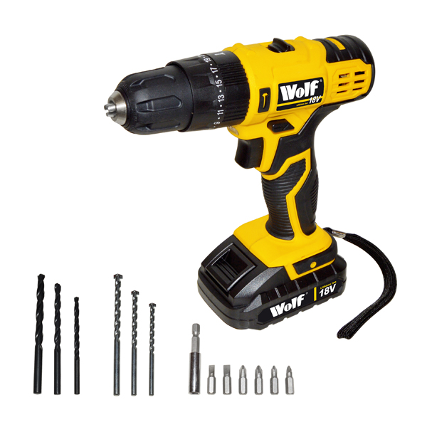 Wolf 18V Li-ion Combi Drill Kit No Colour