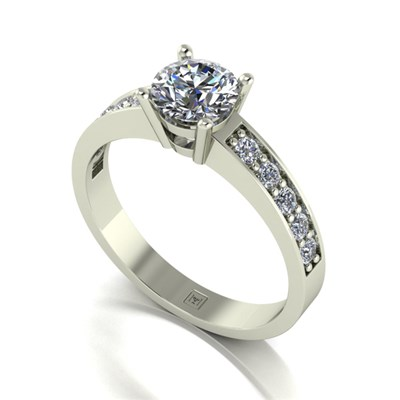 Moissanite 9ct Gold 1.00ct eq Lady Lynsey Solitaire and Shoulder Detail Ring