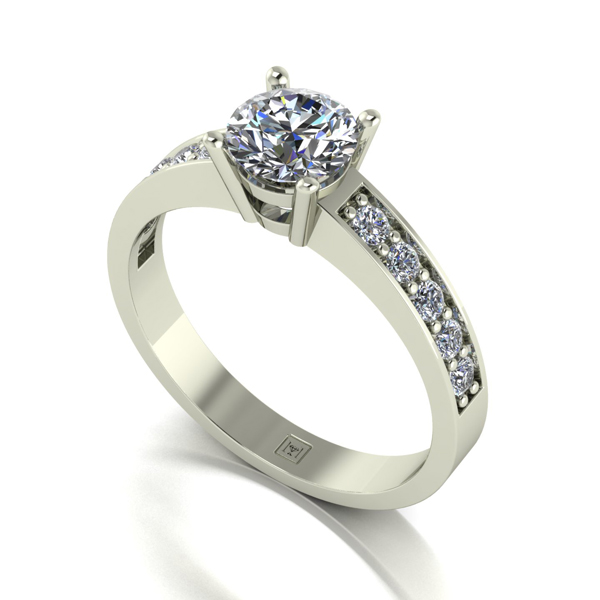 Moissanite 9ct Gold 1.00ct eq Lady Lynsey Solitaire and Shoulder Detail Ring White Gold