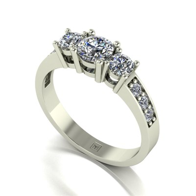 Moissanite 9ct Gold 1.00ct eq Lady Lynsey Trilogy Ring