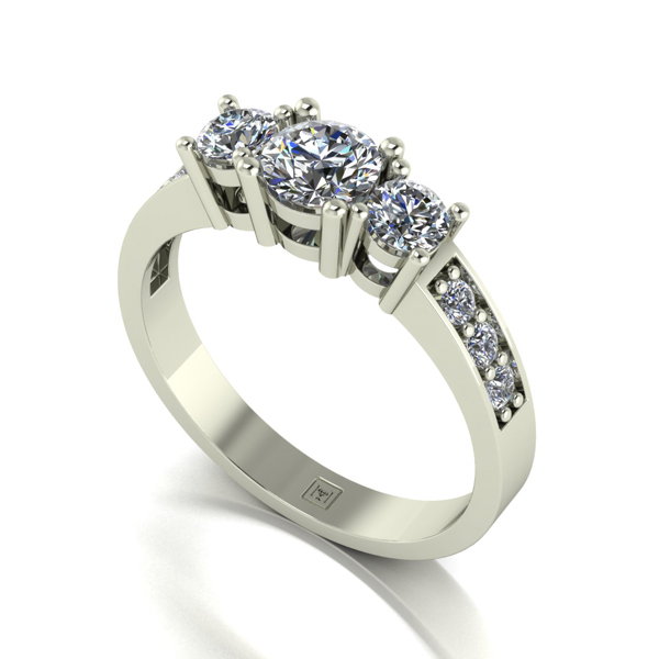 Moissanite 9ct Gold 1.00ct eq Lady Lynsey Trilogy Ring White Gold