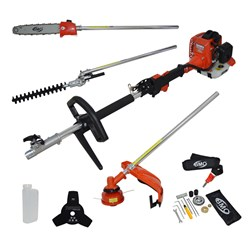 BMC Triumph Multitool with Line Trimmer, Hedgetrimmer, Pruner Attachments and Brushcutter Blade, Oils and Mixers and Nylon Spool
