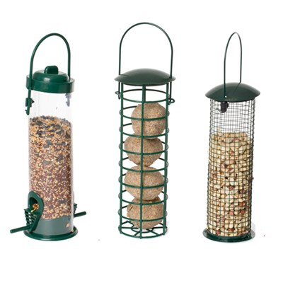Set of 3 pre-filled bird-feeders - peanuts, seed & fatballs