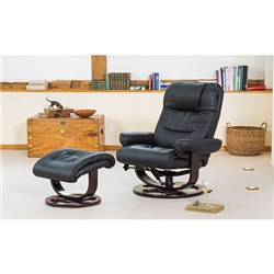Montreal Bonded Leather Swivel Massage and Heat Recliner Chair and Stool