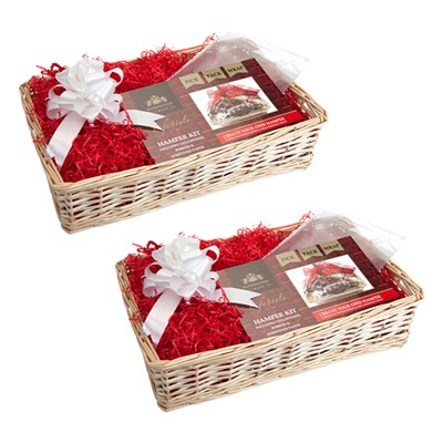Two Kensington Giftware Co. Cream Wood Weave Christmas Hamper Kit