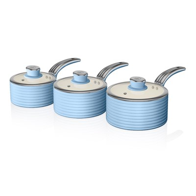 Swan Retro 3 Piece Sauce Pan Set