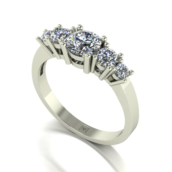 Moissanite 9ct Gold 1.10ct eq Lady Lynsey Half Eternity Ring White Gold
