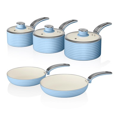 Swan 5 Piece Ceramic Pan Set