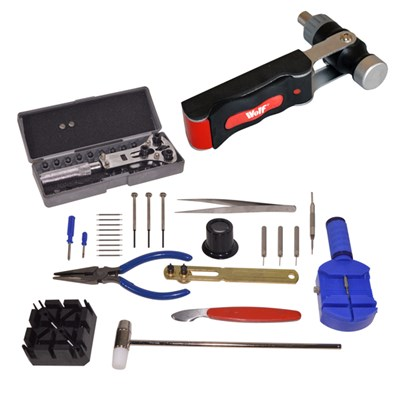 Wolf 7 in 1 Ratchet Screwdriver and Hammer with Wolf Watch Case Opener and Service Set