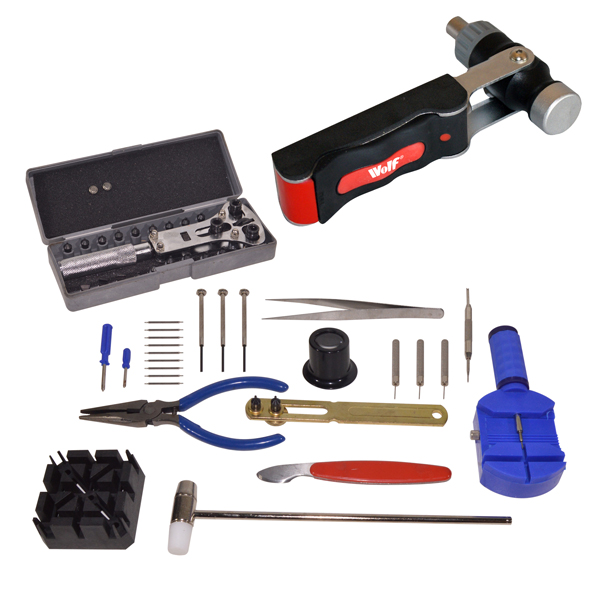 Wolf 7 in 1 Ratchet Screwdriver and Hammer with Wolf Watch Case Opener and Service Set No Colour
