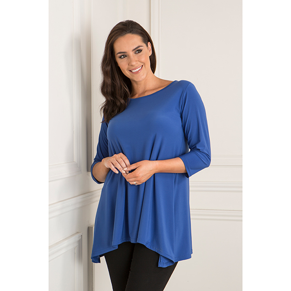 Reflections Swing Dip Hem Top Cobalt