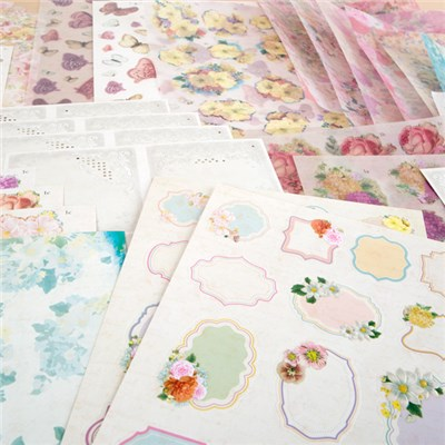 My Paper Stash Antique Flora Paper Kit - Includes Toppers, Decoupage, Sentiments, Backing Papers and Embellishments