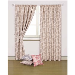 Piccolo 90 inch Width Lined Jacquard 3 inch Tape Header Curtains with Tiebacks