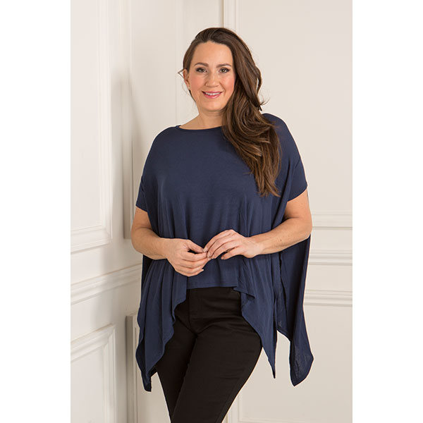 Dip Hem Drape Knit Top Navy