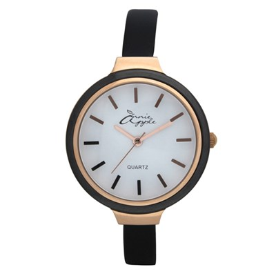 Annie Apple Ladies' Simplicity Watch with Ceramic Bezel and Slimline Leather Strap