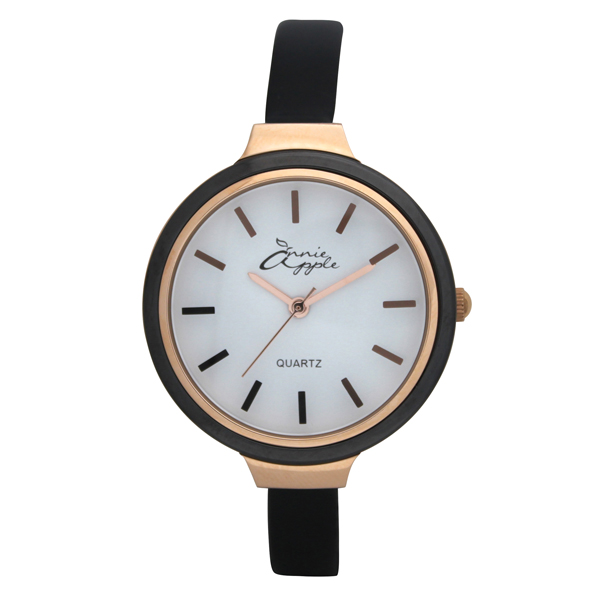 Annie Apple Ladies' Simplicity Watch with Ceramic Bezel and Slimline Leather Strap Black