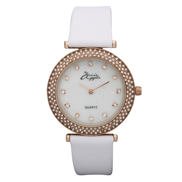 Annie Apple Ladies Watch with Mother of Pearl Dial and Swarovski Elements Stone Set Dial Rose Gold/White