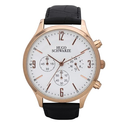Hugo Schwarze Gents Cassius Chronograph Watch with Leather Buckle Strap