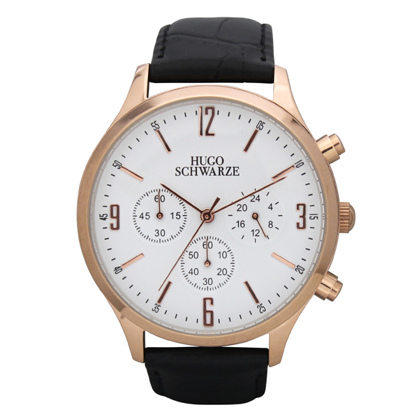 Hugo Schwarze Gents Cassius Chronograph Watch with Leather Buckle Strap Rose Gold