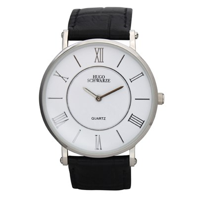 Hugo Schwarze Gent's Kendall Watch with Leather Buckle Strap