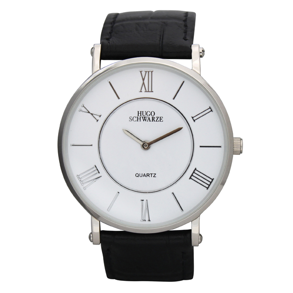 Hugo Schwarze Gents Kendall Watch with Leather Buckle Strap Silver