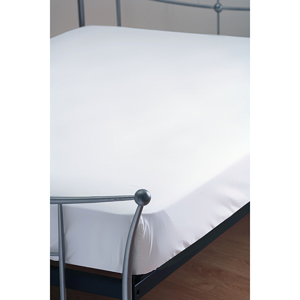 T200 Polycotton Percale King Fitted Sheet Standard Depth White
