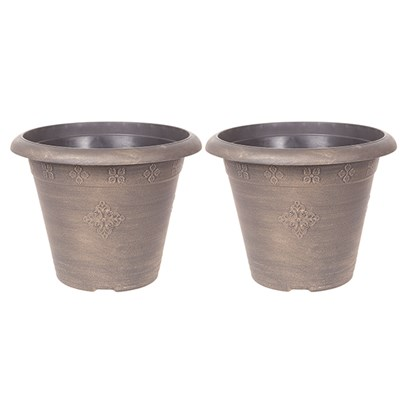 Pair of Large 45cm Medley Round Planters - Gold