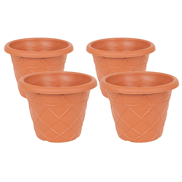 Set of 4 Tuscan style Planters 13inch (24cm) diameter No Colour