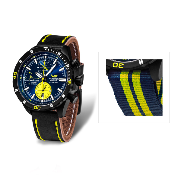 Vostok Europe Gents Jurgis Kairy L2 Limited Edition Pilot Watch with Leather and Nato Straps Blue