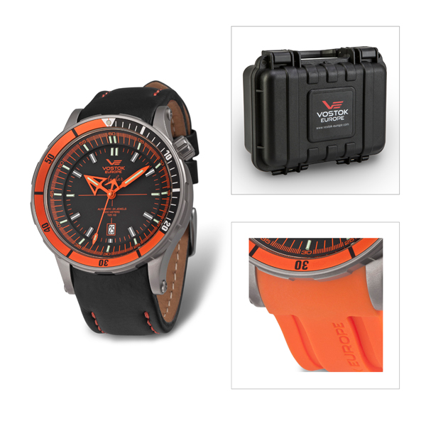 Vostok Europe Gents Limited Edition Anchar Titanium NH35  Automatic Watch with Leather and Silicon Straps Plus Dry Box Orange