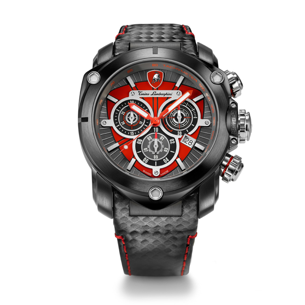 Tonino Lamborghini Spyder 3200 Gents Quartz Chronograph Watch with Leather Strap Red